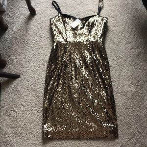 NWT Milly gold sequin sheath dress
